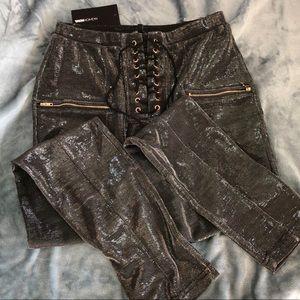Metallic Lace-up Pants